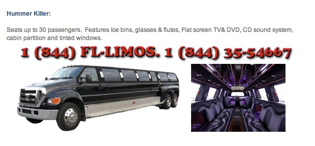 20-30 passenger minibus, Hummer limo in South Florida.
